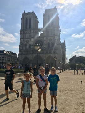 The girls outside the Notre Dame
